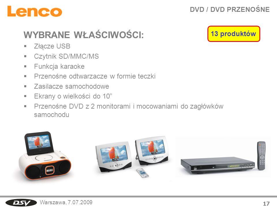 WYBRANE WŁAŚCIWOŚCI: DVD / DVD PRZENOŚNE 13 produktów Złącze USB