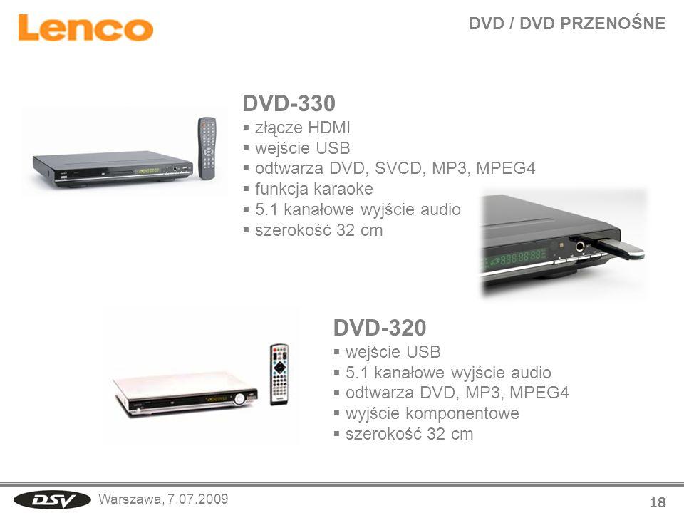 DVD-330 DVD-320 DVD / DVD PRZENOŚNE złącze HDMI wejście USB