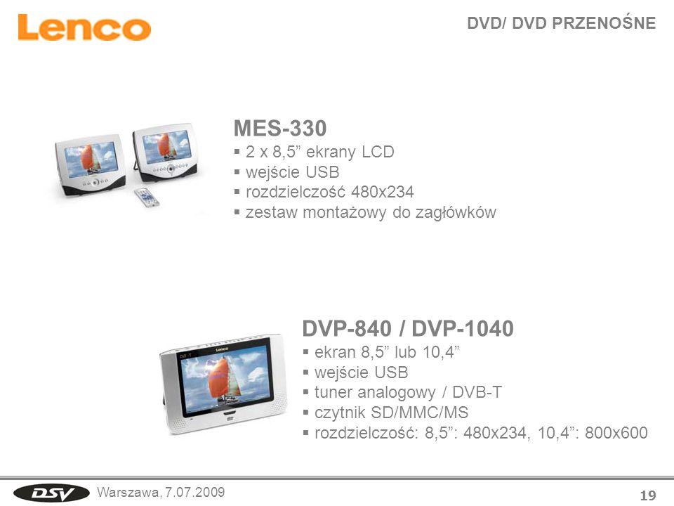 MES-330 DVP-840 / DVP-1040 DVD/ DVD PRZENOŚNE 2 x 8,5 ekrany LCD