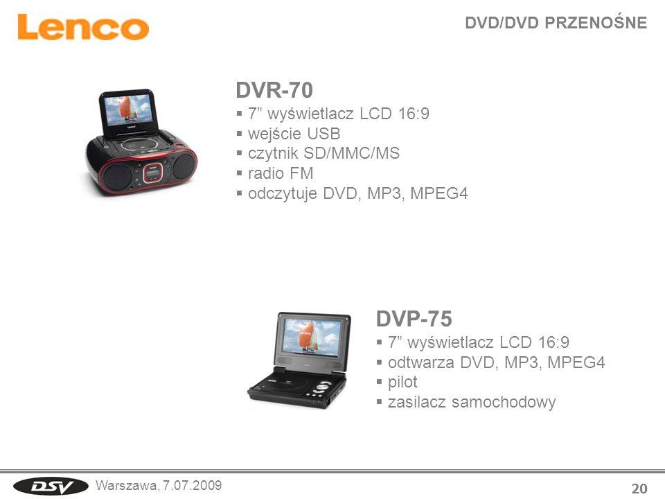 DVR-70 DVP-75 DVD/DVD PRZENOŚNE 7 wyświetlacz LCD 16:9 wejście USB
