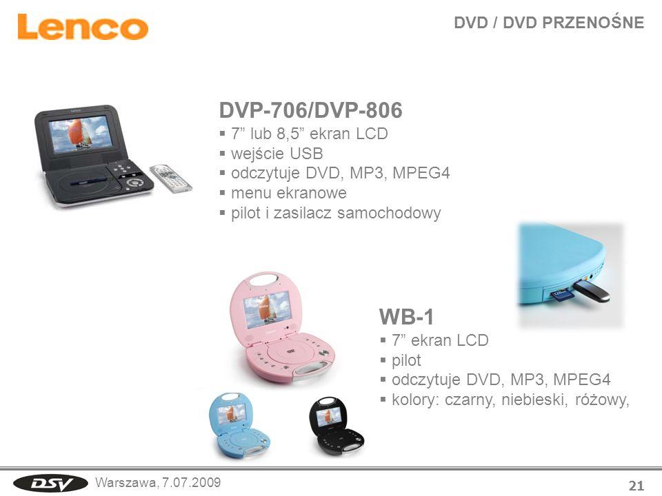 DVP-706/DVP-806 WB-1 DVD / DVD PRZENOŚNE 7 lub 8,5 ekran LCD