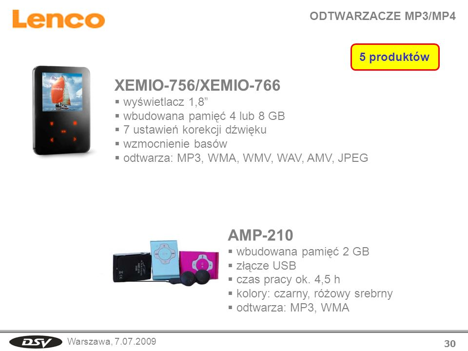 XEMIO-756/XEMIO-766 AMP-210 ODTWARZACZE MP3/MP4 5 produktów