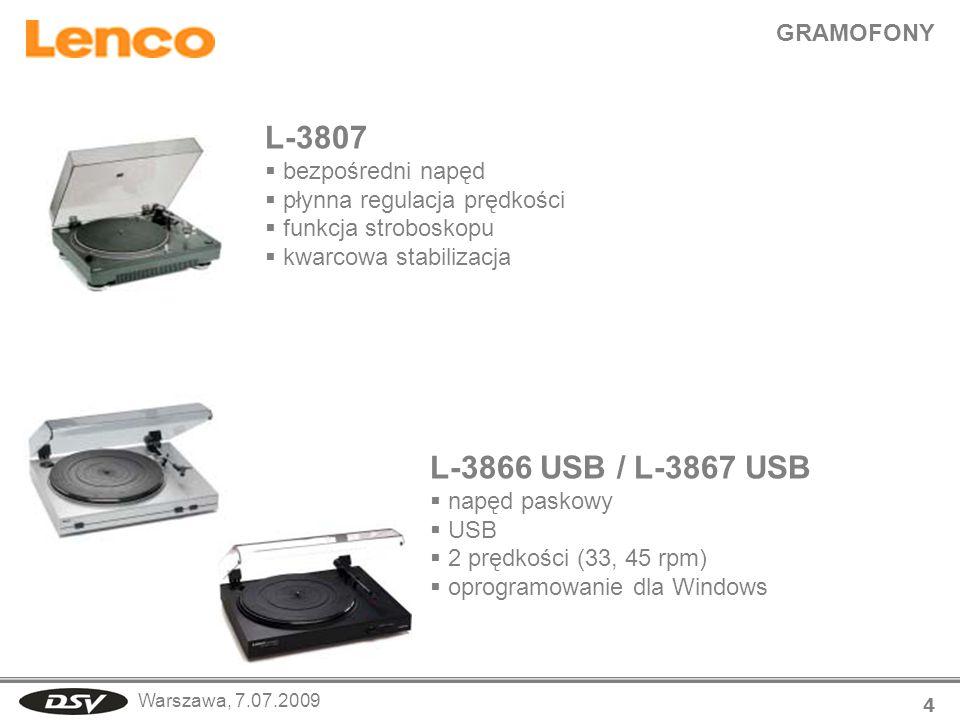 L-3807 L-3866 USB / L-3867 USB GRAMOFONY bezpośredni napęd