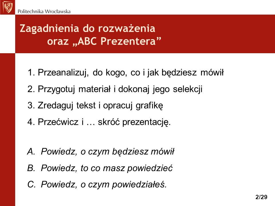 """Zagadnienia do rozważenia oraz """"ABC Prezentera"""