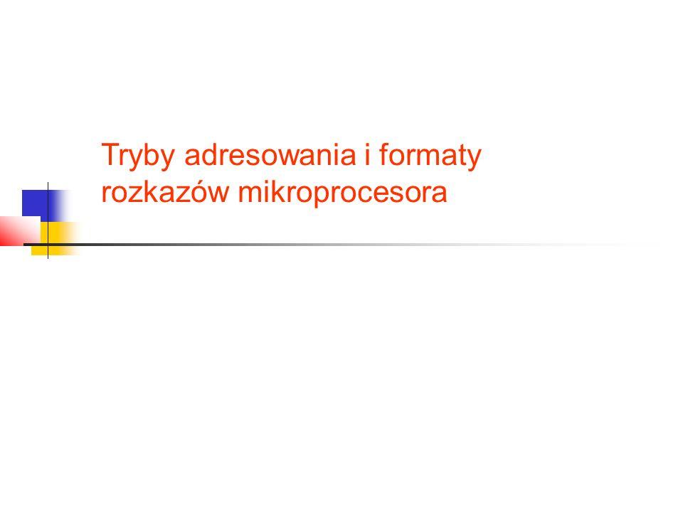 Tryby adresowania i formaty rozkazów mikroprocesora