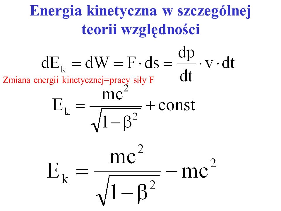 Energia kinetyczna w szczególnej teorii względności