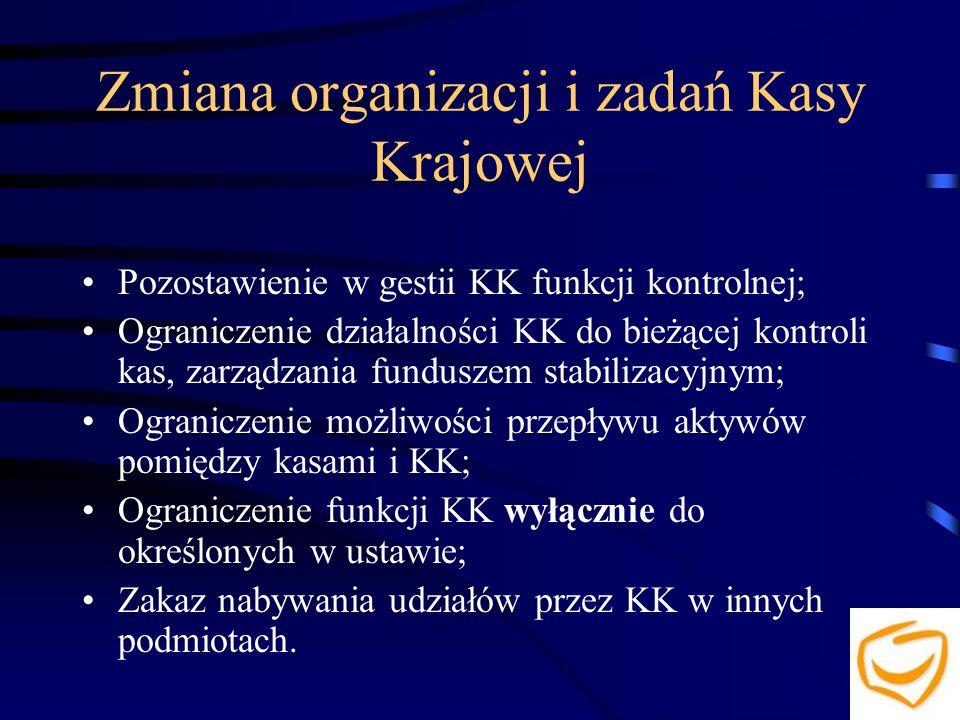 Zmiana organizacji i zadań Kasy Krajowej