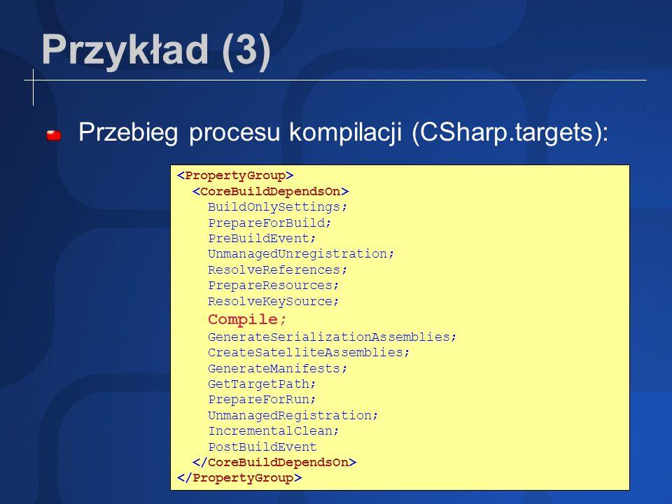 Przykład (3) Przebieg procesu kompilacji (CSharp.targets):
