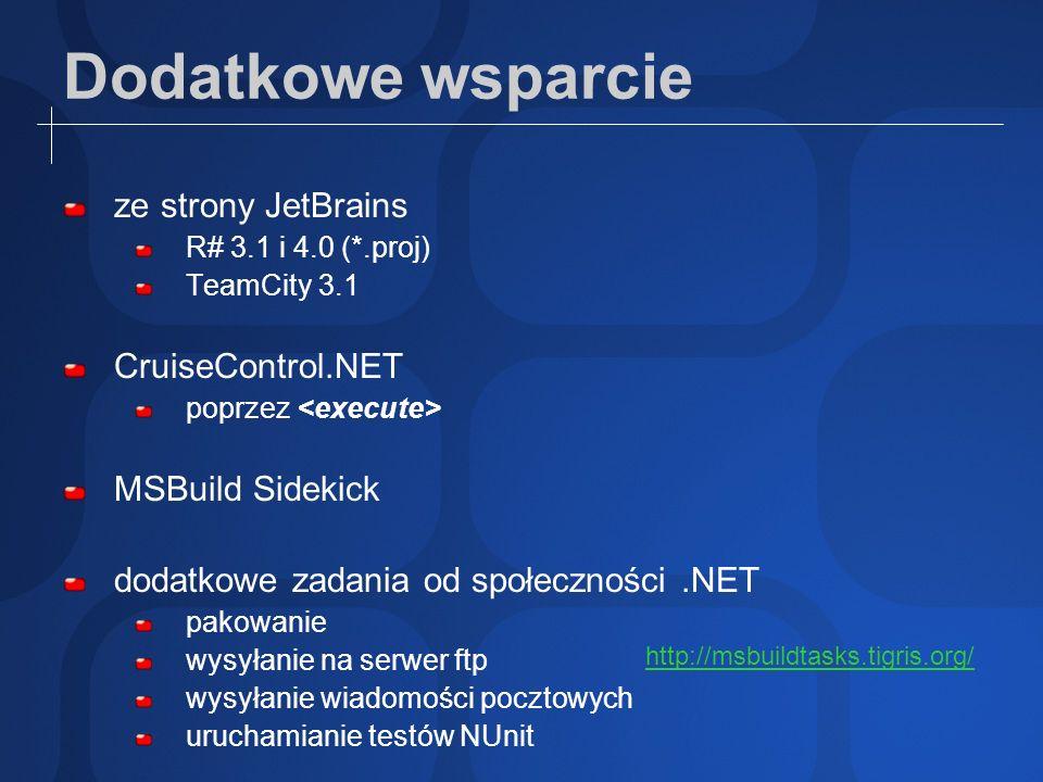 Dodatkowe wsparcie ze strony JetBrains CruiseControl.NET