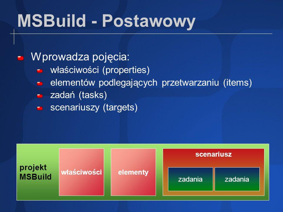 MSBuild - Postawowy Wprowadza pojęcia: właściwości (properties)