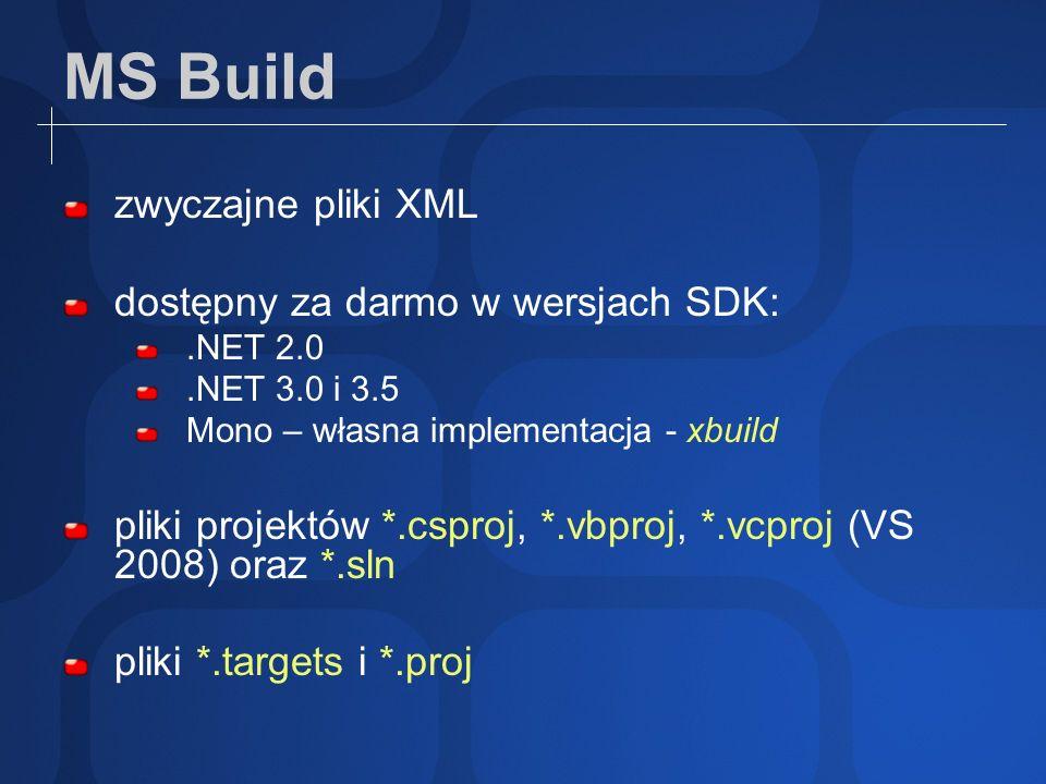 MS Build zwyczajne pliki XML dostępny za darmo w wersjach SDK: