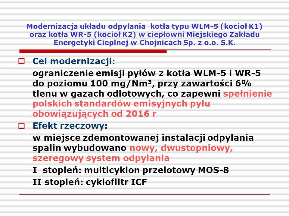 I stopień: multicyklon przelotowy MOS-8 II stopień: cyklofiltr ICF