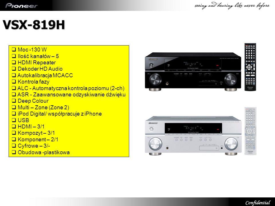 VSX-819H Moc -130 W Ilość kanałów – 5 HDMI Repeater Dekoder HD Audio