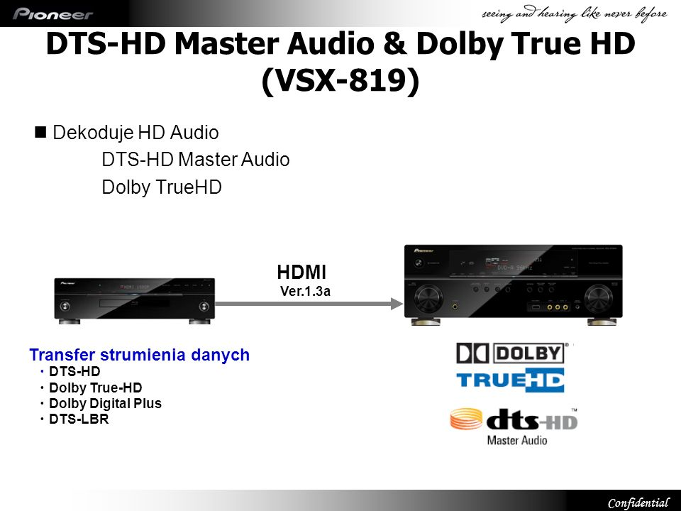 DTS-HD Master Audio & Dolby True HD (VSX-819)
