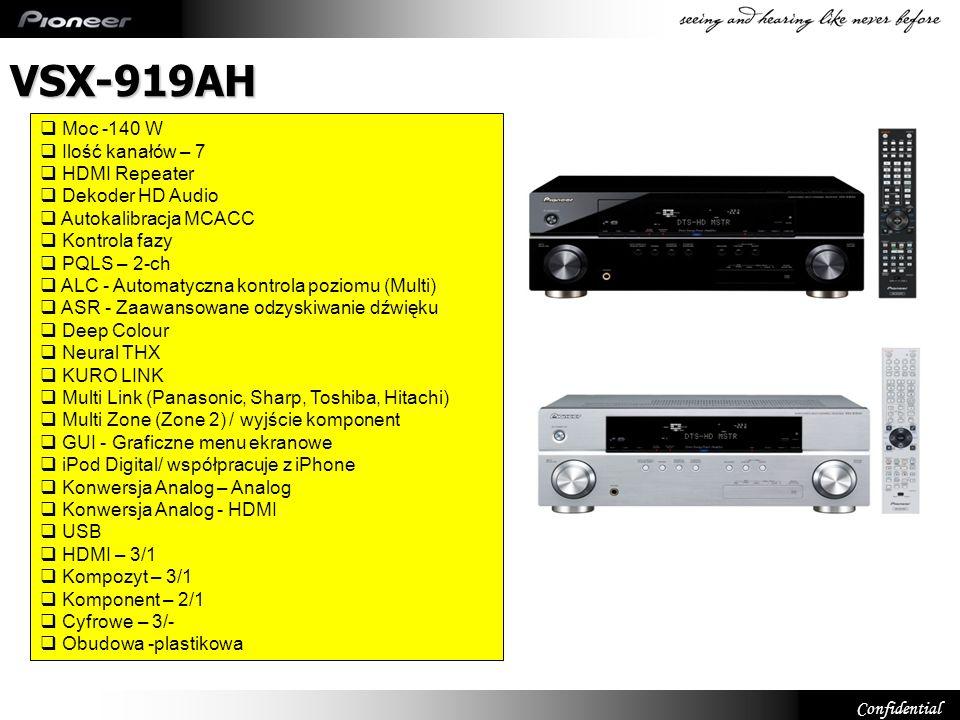 VSX-919AH Moc -140 W Ilość kanałów – 7 HDMI Repeater Dekoder HD Audio