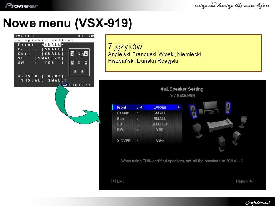 Nowe menu (VSX-919) 7 języków Angielski, Francuski, Włoski, Niemiecki