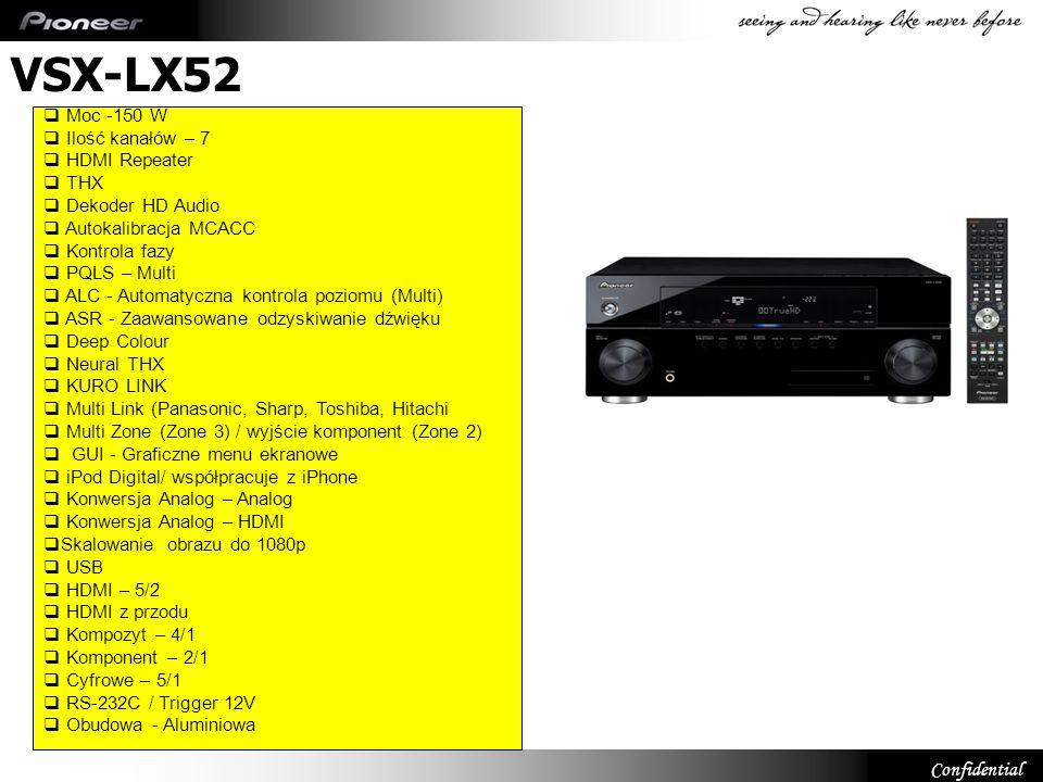 VSX-LX52 Moc -150 W Ilość kanałów – 7 HDMI Repeater THX
