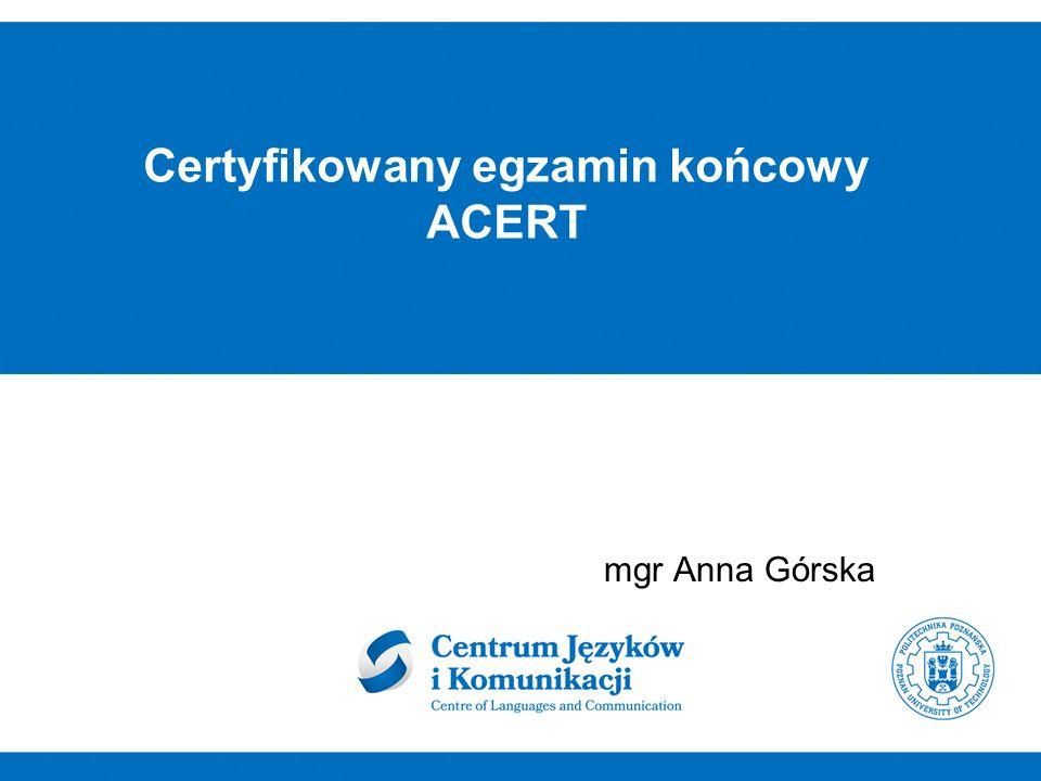 Certyfikowany egzamin końcowy ACERT