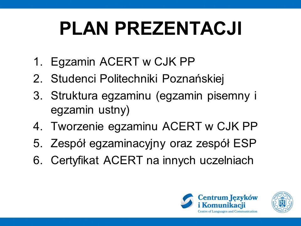 PLAN PREZENTACJI Egzamin ACERT w CJK PP