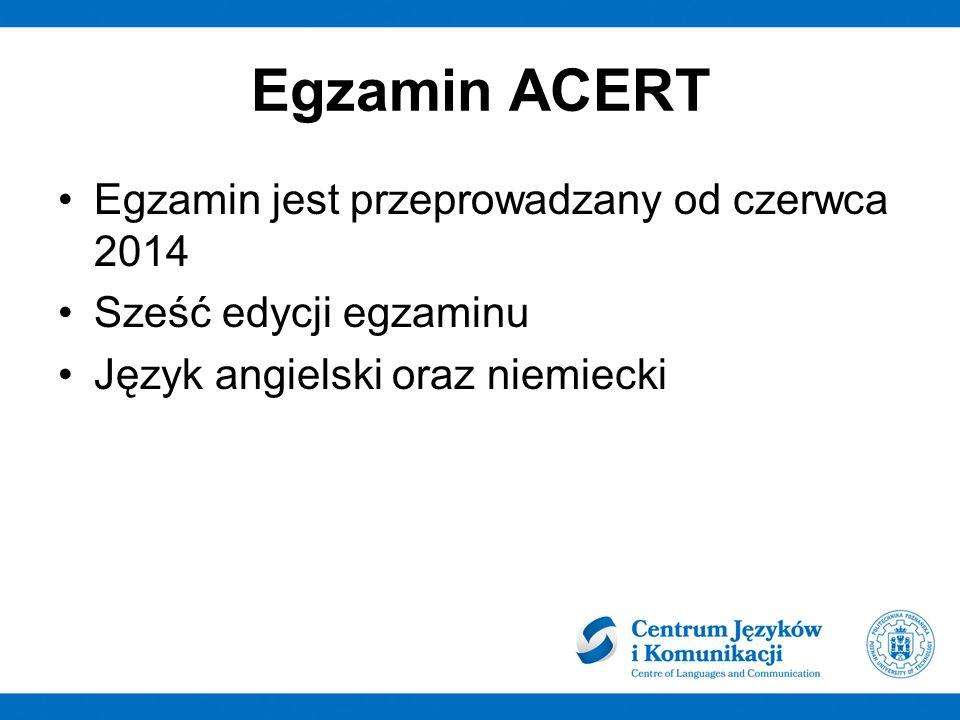 Egzamin ACERT Egzamin jest przeprowadzany od czerwca 2014