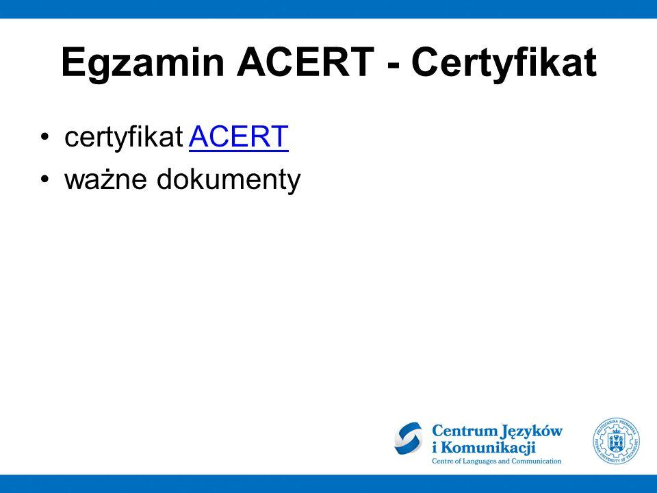 Egzamin ACERT - Certyfikat