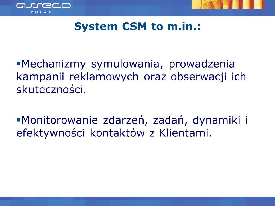 System CSM to m.in.:Mechanizmy symulowania, prowadzenia kampanii reklamowych oraz obserwacji ich skuteczności.