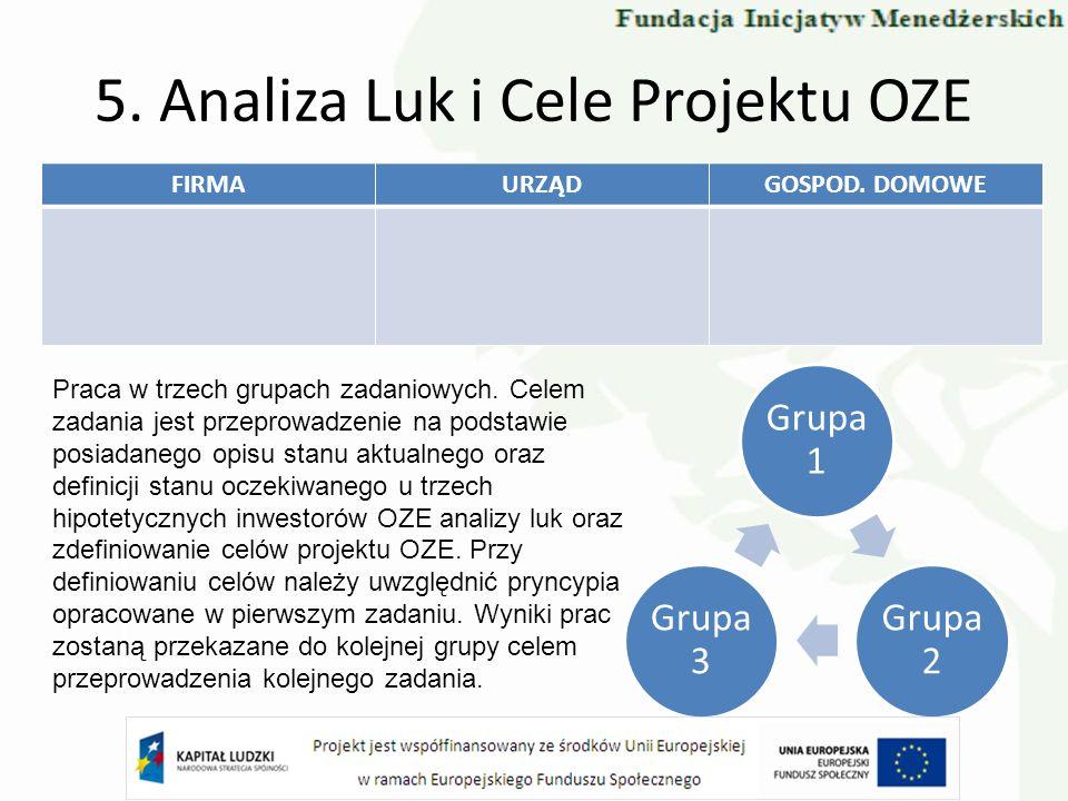 5. Analiza Luk i Cele Projektu OZE