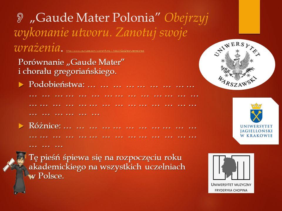 """ """"Gaude Mater Polonia Obejrzyj wykonanie utworu"""