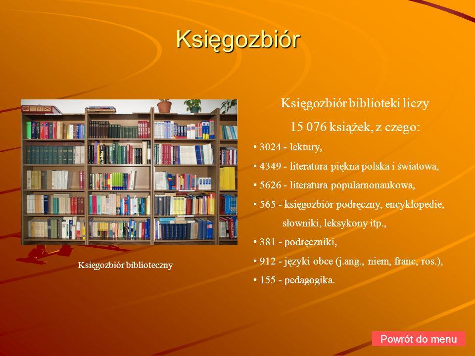 Księgozbiór Księgozbiór biblioteki liczy 15 076 książek, z czego: