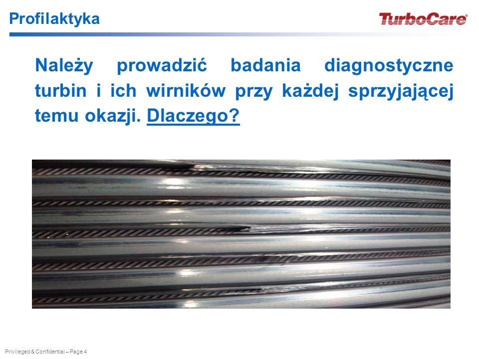 Profilaktyka Należy prowadzić badania diagnostyczne turbin i ich wirników przy każdej sprzyjającej temu okazji.