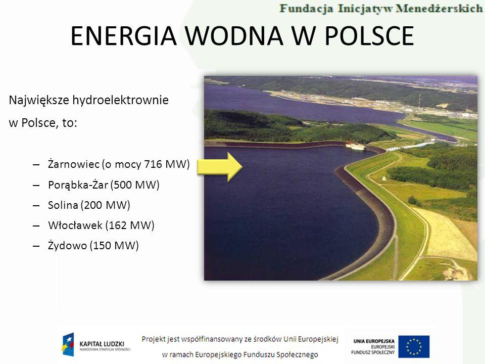 ENERGIA WODNA W POLSCE Największe hydroelektrownie w Polsce, to: