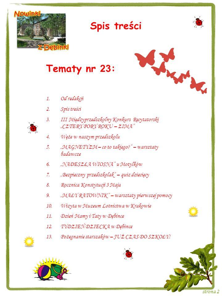 Spis treści Tematy nr 23: Od redakcji Spis treści