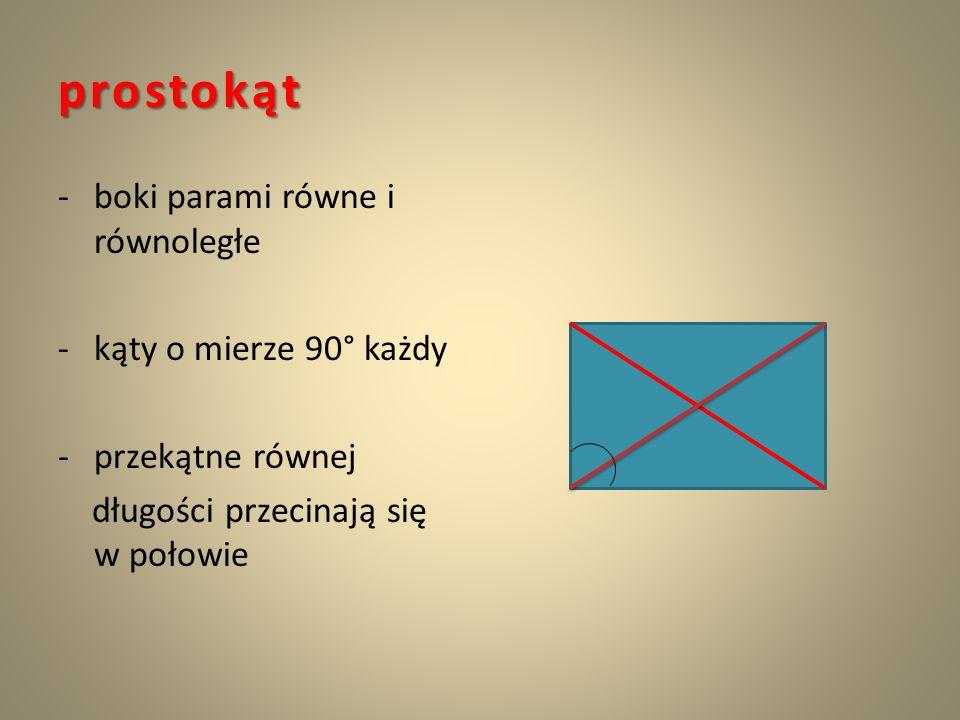 prostokąt boki parami równe i równoległe kąty o mierze 90° każdy