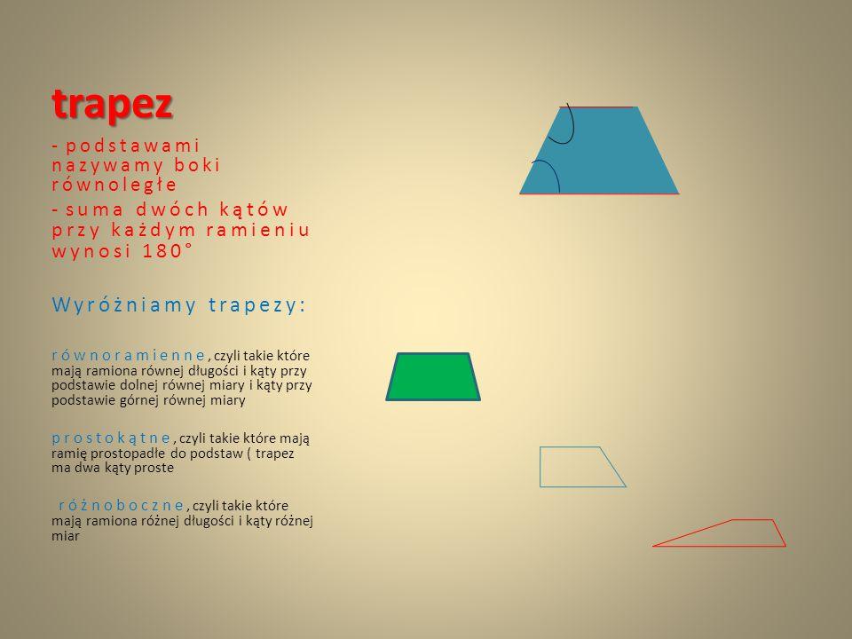 trapez Wyróżniamy trapezy: