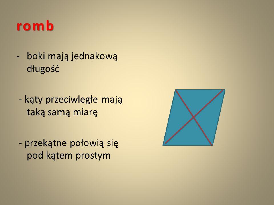 romb boki mają jednakową długość