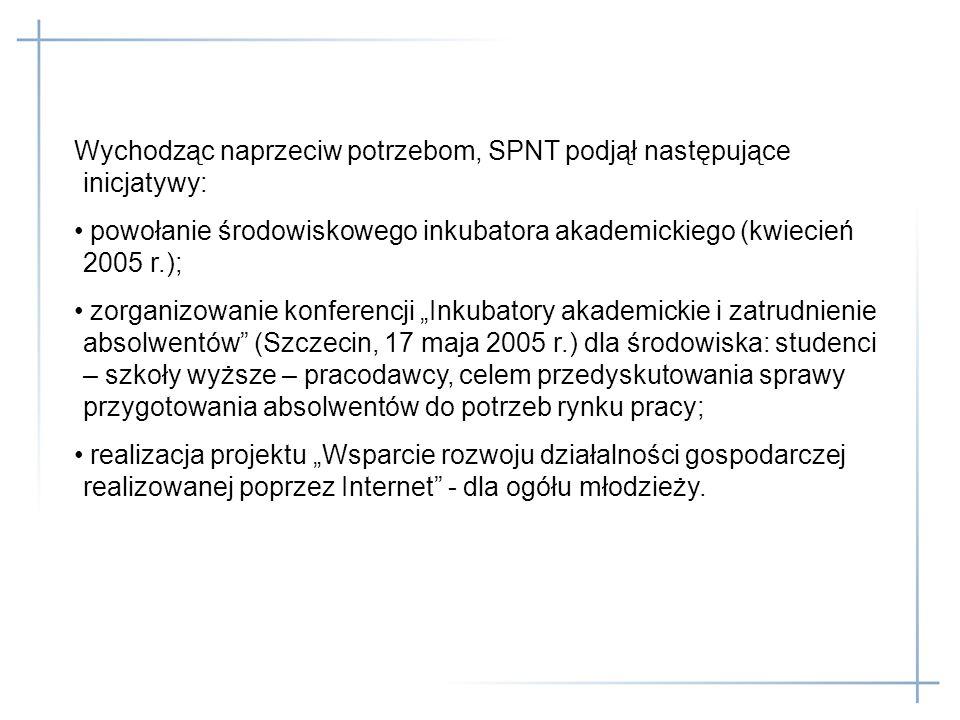 Wychodząc naprzeciw potrzebom, SPNT podjął następujące inicjatywy: