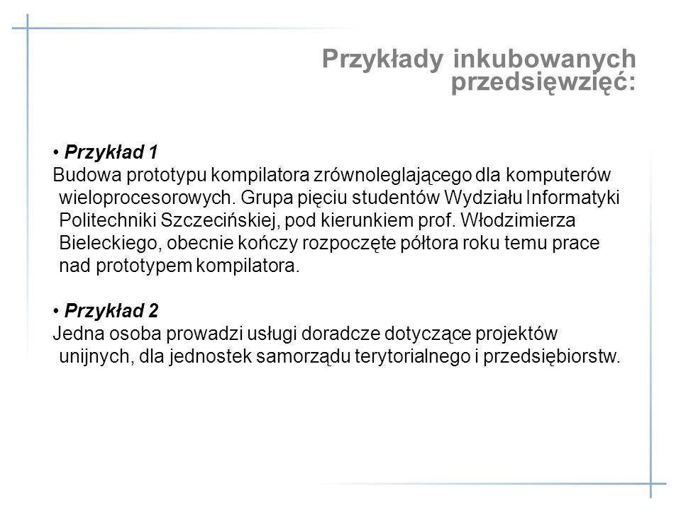 Przykłady inkubowanych przedsięwzięć: