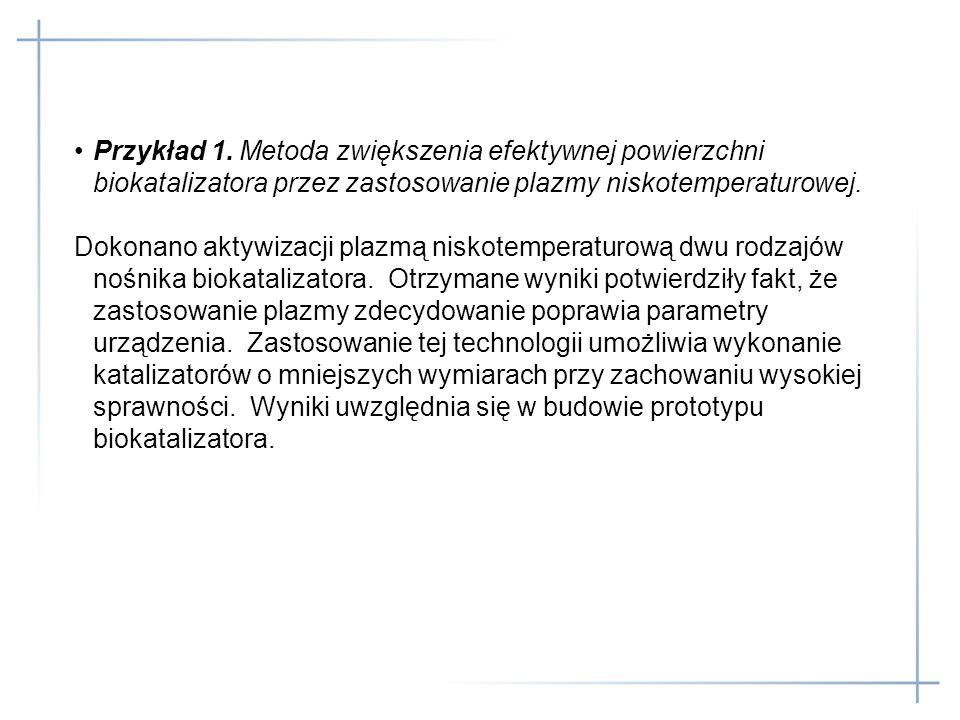 Przykład 1. Metoda zwiększenia efektywnej powierzchni biokatalizatora przez zastosowanie plazmy niskotemperaturowej.
