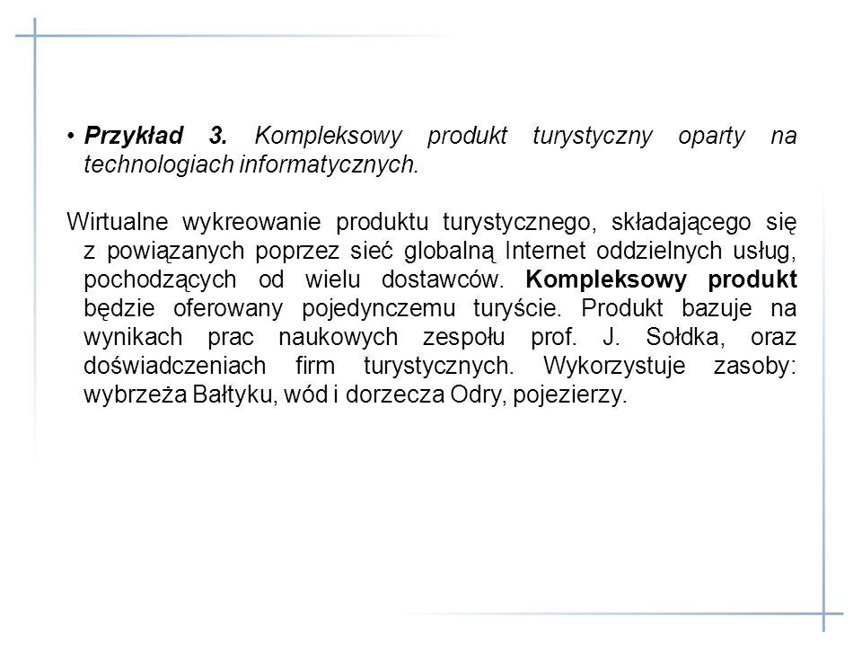 Przykład 3. Kompleksowy produkt turystyczny oparty na technologiach informatycznych.