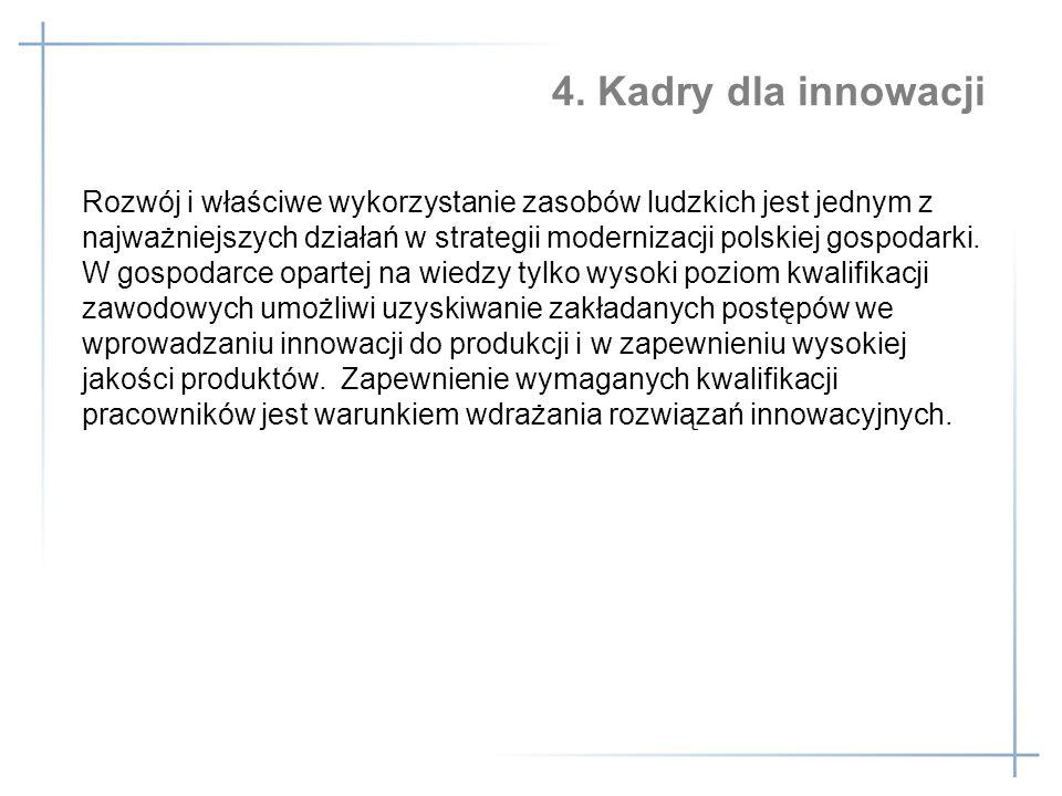 Rozwój i właściwe wykorzystanie zasobów ludzkich jest jednym z najważniejszych działań w strategii modernizacji polskiej gospodarki. W gospodarce opartej na wiedzy tylko wysoki poziom kwalifikacji zawodowych umożliwi uzyskiwanie zakładanych postępów we wprowadzaniu innowacji do produkcji i w zapewnieniu wysokiej jakości produktów. Zapewnienie wymaganych kwalifikacji pracowników jest warunkiem wdrażania rozwiązań innowacyjnych.