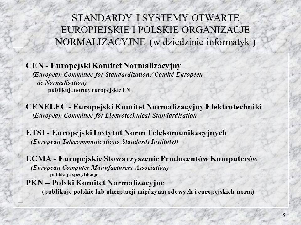 STANDARDY I SYSTEMY OTWARTE EUROPIEJSKIE I POLSKIE ORGANIZACJE NORMALIZACYJNE (w dziedzinie informatyki)