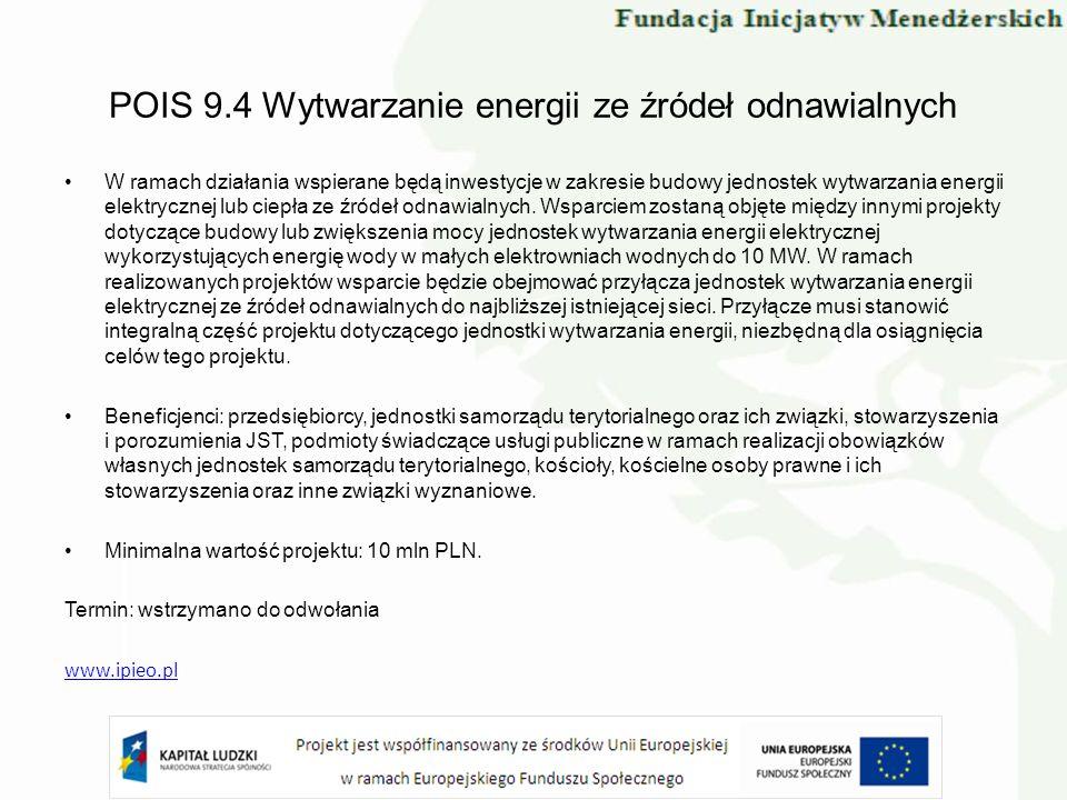 POIS 9.4 Wytwarzanie energii ze źródeł odnawialnych