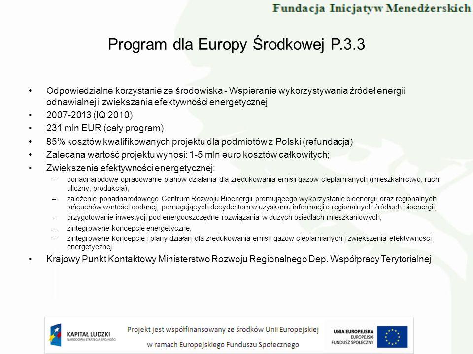 Program dla Europy Środkowej P.3.3