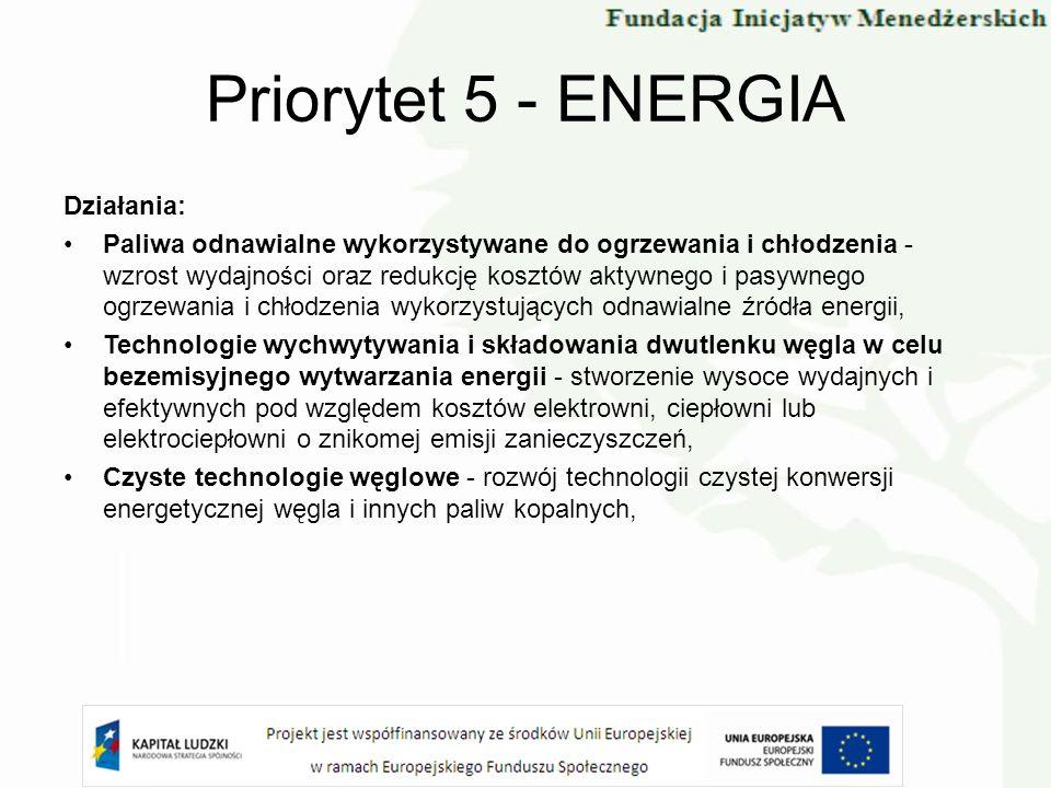 Priorytet 5 - ENERGIA Działania: