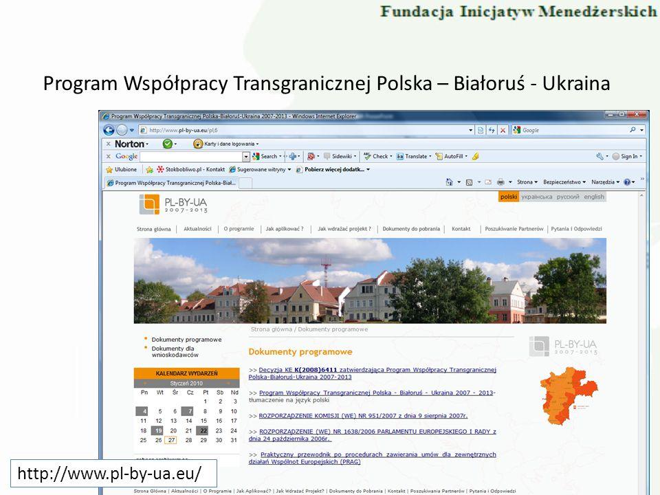Program Współpracy Transgranicznej Polska – Białoruś - Ukraina