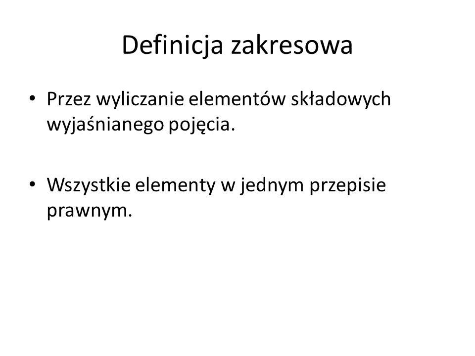 Definicja zakresowa Przez wyliczanie elementów składowych wyjaśnianego pojęcia.