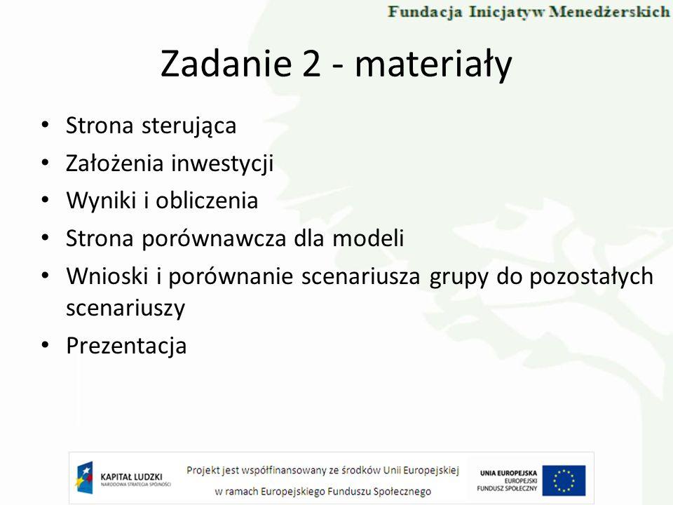 Zadanie 2 - materiały Strona sterująca Założenia inwestycji