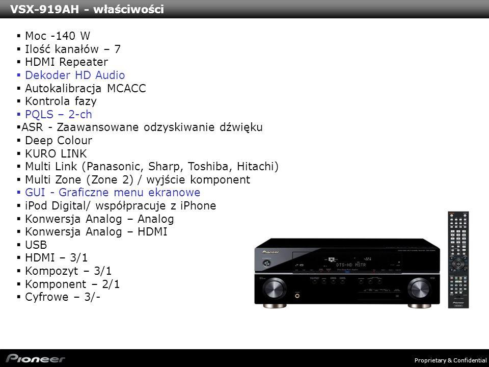 VSX-919AH - właściwości Moc -140 W. Ilość kanałów – 7. HDMI Repeater. Dekoder HD Audio. Autokalibracja MCACC.