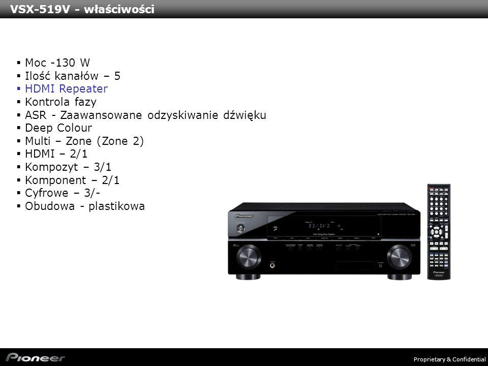 VSX-519V - właściwości Moc -130 W. Ilość kanałów – 5. HDMI Repeater. Kontrola fazy. ASR - Zaawansowane odzyskiwanie dźwięku.