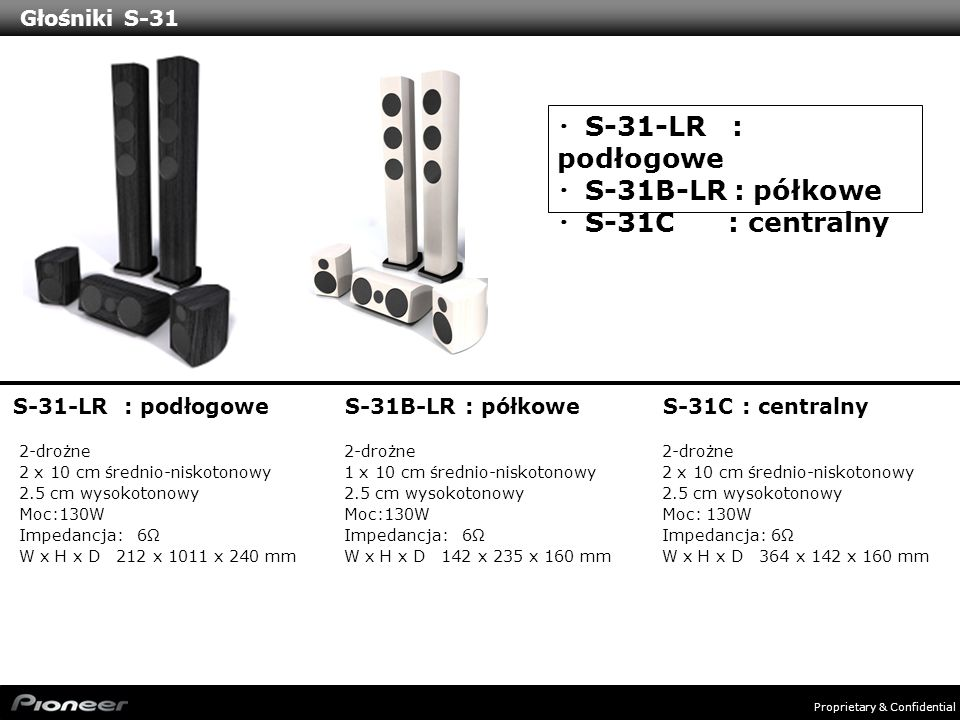 ・S-31-LR : podłogowe ・S-31B-LR : półkowe ・S-31C : centralny